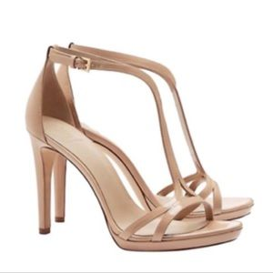 Tory Burch Shelley leather nude strapped heels size 9.5